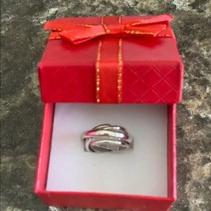 NWT!  Silver Tined Adjustable Chunky Ring